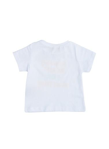 Limon Company 71Bas O Yaka Kısa Kollu Pamuk Uzun Baskılı Bebek Tshirt Beyaz